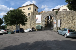 The maun gate to Cortona. Our white rental car to the left.