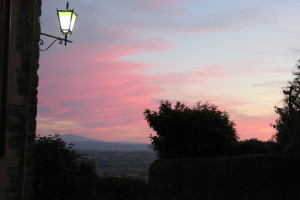 Spectacular Tuscana sunset as seen from Cortona